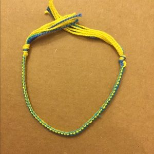 Blue and yellow friendship bracelet